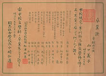 専門科乙種文学科卒業証 (1896年6月)