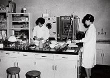 実験室(楽真館) 卒業研究実験中のゼミ生(1965年)