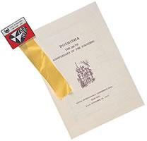同志社創立100周年記念式のプログラムとバッジ