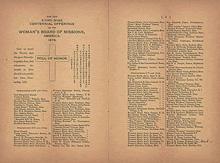アメリカ独立百周年を記念してウーマンズ・ボードが「京都ホーム」建設を呼びかけ、その募金に協力した人びとの「芳名録」 「芳名録」の図案を考案し作成したのはウーマンズ・ボード会員のウィンスロー夫人(Mrs. M. Winslow)