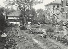 専門学部家政科園芸実習(1918年)園芸(Gardening)は家政科の必修科目(現在のデントン館の位置)