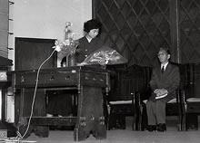 第23回世界卓球選手権大会に出場する難波多慧子壮行会(1956年2月11日)