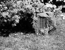 デントンと星名ヒサの友情を記念する碑 今出川キャンパス図書館屋上 2首の歌「海をこえ国をもこえて神のみ手にむすばれしこの淑き人ふたり」「世界のはなうつし植うべきこの苑をのこしおきたるよき人ふたり」(加藤順三作)が刻まれている