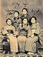 京都ホーム時代から学んでいた生徒たち 前列左から高松仙、本間春、横井宮、後列左から大西静、山本峯