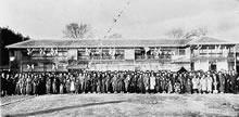 平安寮落成記念 1909年12月4日、女学校生徒学芸品展覧会を開催して祝った(現在の女子中高黎明館の位置)